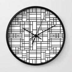 Map Outline Black on White  Wall Clock