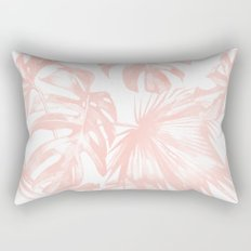 Pink Tropical Palm Leaves Rectangular Pillow