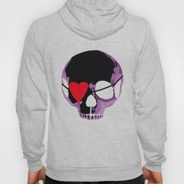 Pink skull with heart eyepatch Hoody