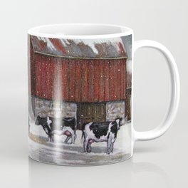 Holstein Dairy Cows in Snowy Barnyard; Winter Farm Scene No. 2 Coffee Mug