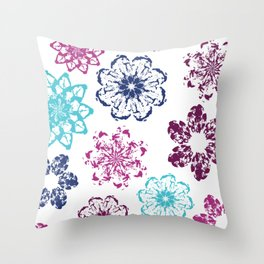 Batik Flowers Throw Pillow
