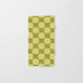 Green and yellow floral pattern. Hand & Bath Towel
