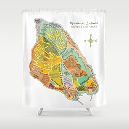 Mackinac Island Illustrated Map Shower Curtain