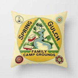 Vintage Retro Camping Spring Gulch Wanderlust Throw Pillow