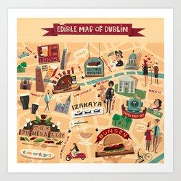 Edible Map of Dublin Art Print