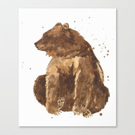 Bear, brown bear, guy art, man cave, woodsman, forestry lover, wild thing, daniel boone person Canvas Print