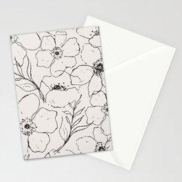 Floral Simplicity - Flower & Leaves Line Art - Cream & Black Stationery Cards
