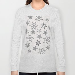 Grey Snowflakes On White Background Long Sleeve T-shirt