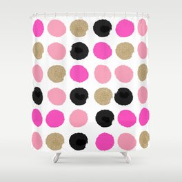 Finley - Abstract colorful brushstroke dots in gold and pinks Shower Curtain
