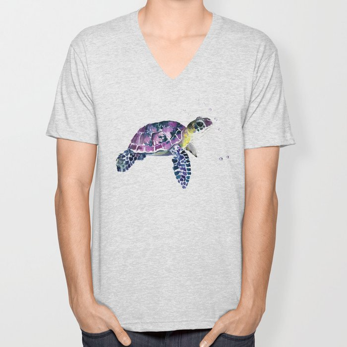 Sea Turtle, purple baby turtle illustration design Unisex V-Neck