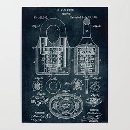 1885 - Padlock patent art Poster