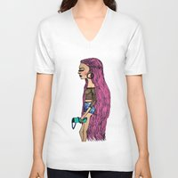 grunge V-neck T-shirts featuring grunge  by MariaBueno