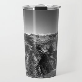 Half Dome and Waterfalls from Glacier Point in Yosemite Valley National Park (Black and White) Travel Mug