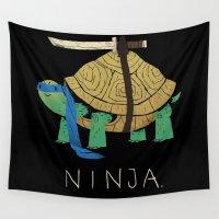 ninja Wall Tapestries featuring ninja - blue by Louis Roskosch