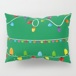 Light Bulbs Collection. Set of Christmas lights for Xmas holiday greeting card design green background Pillow Sham