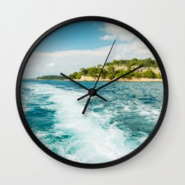 Boat trip near Rovinj. View to the island. Croatia Wall Clock