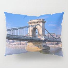 View Chain bridge over Danube river. Pillow Sham