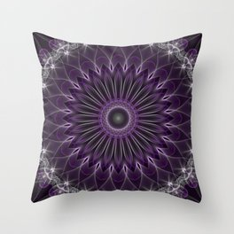 Glowing mandala in violet and silver colors Throw Pillow