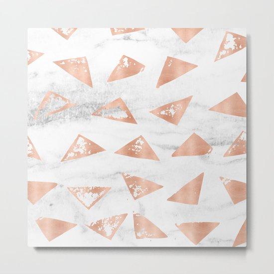 Boho Geometric Rose Gold Marble Metal Print