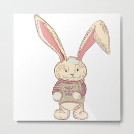 Christmas cute hare. Winter design illustration Metal Print