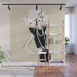 Fashion girl in black with pearls Wall Mural