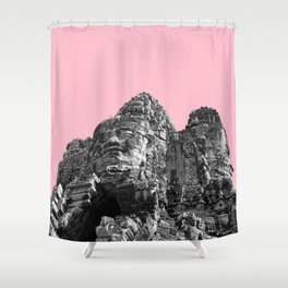 Part of Angkor Wat with pink Shower Curtain