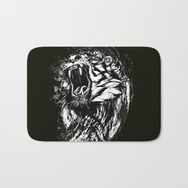 Angry Tiger Black and white Bath Mat