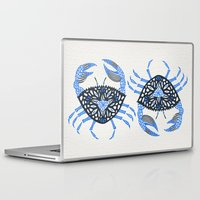 crab Laptop & iPad Skins featuring Blue Crab by Cat Coquillette