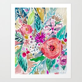High by the Beach Painterly Floral Art Print