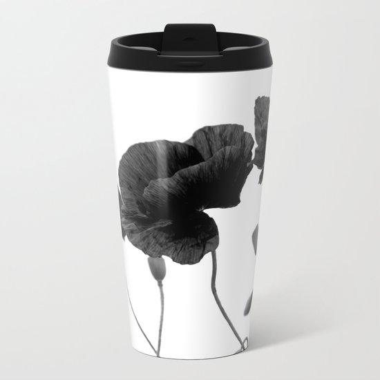 Poppy (black and white) Metal Travel Mug