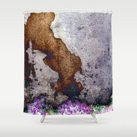 gnome Shower Curtains featuring gnome by pixelplasma