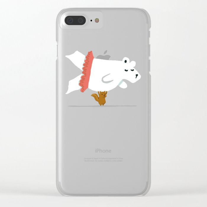 You Lift Me Up - Polar bear doing ballet Clear iPhone Case