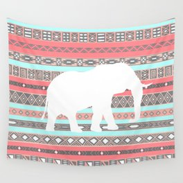 Elephant Aztec Pattern Pastel Peach Aqua Print Wall Tapestry