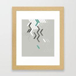 Deconstructed Chevron B – Gray / Teal Abstract Pattern Framed Art Print
