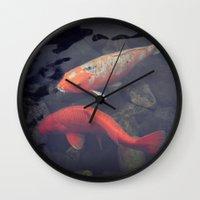 koi fish Wall Clocks featuring Koi Fish by KunstFabrik_StaticMovement Manu Jobst