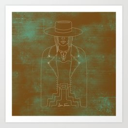 Lady Outlaw Rust & Distressed Turquoise Art Print
