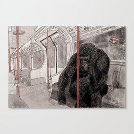 Gorilla on the Tube Canvas Print