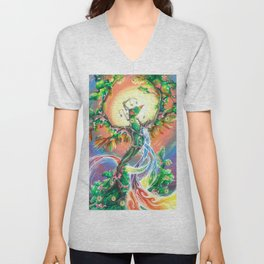Wooden Bird of Paradise  Unisex V-Neck
