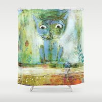 fishing Shower Curtains featuring fishing by Agnes Laczo