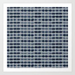 Shibori Frequency Horizontal Navy and Grey Art Print