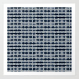 Shibori Frequency Horizontal Navy and Grey Art Print