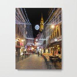 Cozy street in Brussels Metal Print
