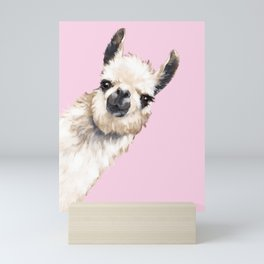 Sneaky Llama in Pink Mini Art Print