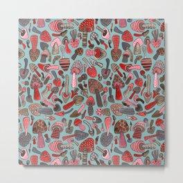 Mushroom Pattern turquoise Metal Print