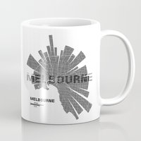 melbourne Mugs featuring Melbourne Map by Shirt Urbanization