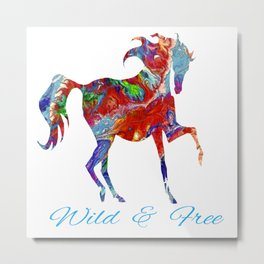OLena Art Colorful Horse Design Wild and Free Metal Print