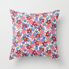 Liberty print in pinks, reds and blues Throw Pillow