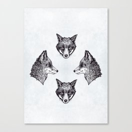 Mrs Fox Design B&W Canvas Print