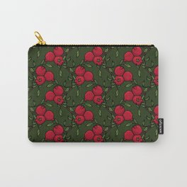 Pomegranate - Red and Green Doodle Pattern Carry-All Pouch