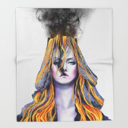 Volcano lady Throw Blanket